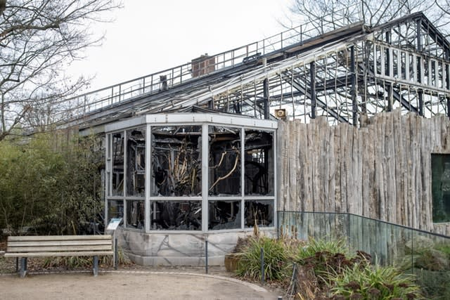 The destroyed ape house of the zoo in Krefeld, Germany