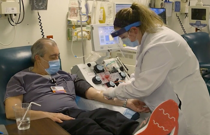 "A man who recovered from COVID-19 donates plasma that will be tested as a treatment. <span class=""copyright"">(Dartmouth-Hitchcock Health)</span>"