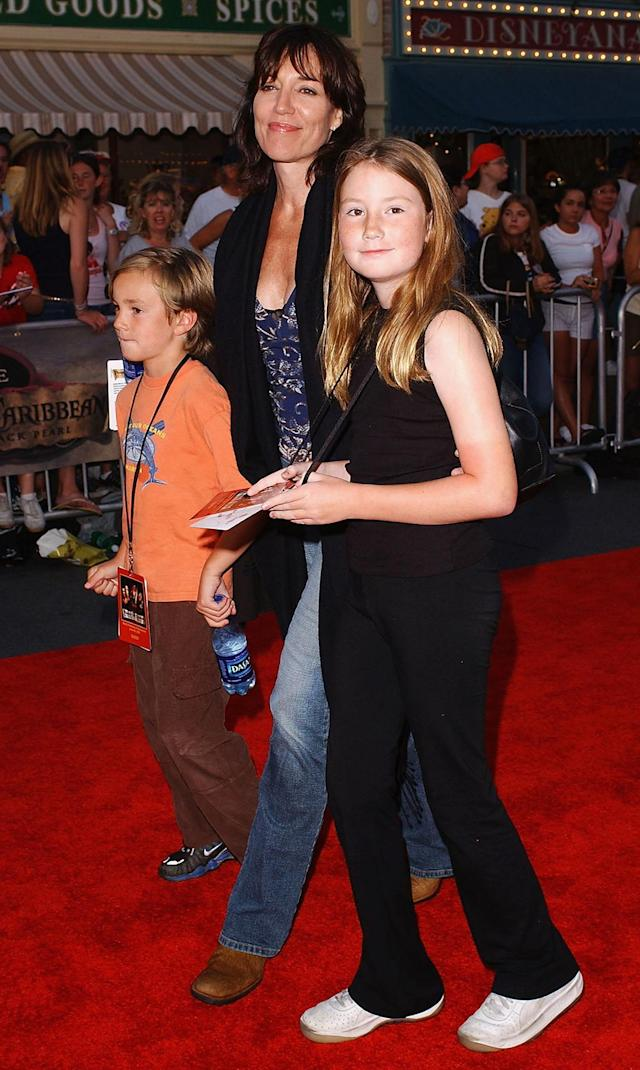 <p>The <em>8 Simple Rules</em> star and her kids strolled the Disneyland carpet. (Photo: Amanda Edwards/Getty Images) </p>