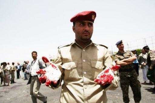 There was no immediate claim of responsibility for today's massive blast in Sanaa