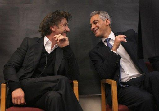 Chicago Mayor Rahm Emanuel (R) and actor and philanthropist Sean Penn chat at Frederick Von Steuben Metropolitan Science Center as part of the World Summit of Nobel Peace Laureates, on April 23, in Chicago, Illinois. The 12th World Summit of Nobel Peace Laureates convenes in Chicago through Wednesday, April 25