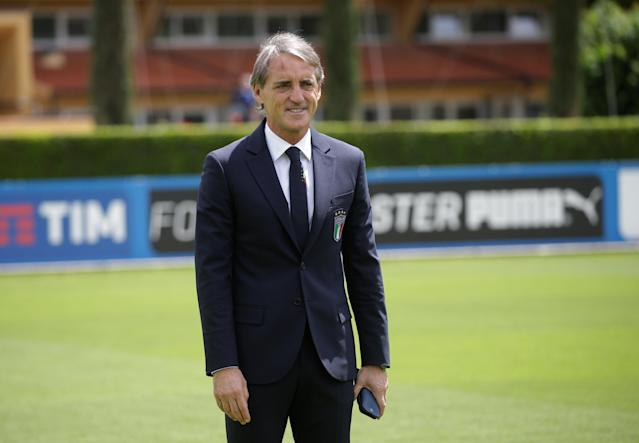Soccer Football - Italy - Roberto Mancini Press Conference - Coverciano, Florence, Italy - May 15, 2018 New Italy coach Roberto Mancini after the press conference REUTERS/Max Rossi