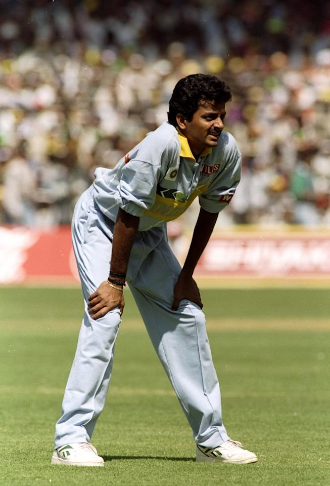 27 Feb 1996:  Venkatapathy Raju of India in the field against Australia during the World Cup match at the Wankhede Stadium in Bombay, India.  \ Mandatory Credit: Shaun Botterill /Allsport