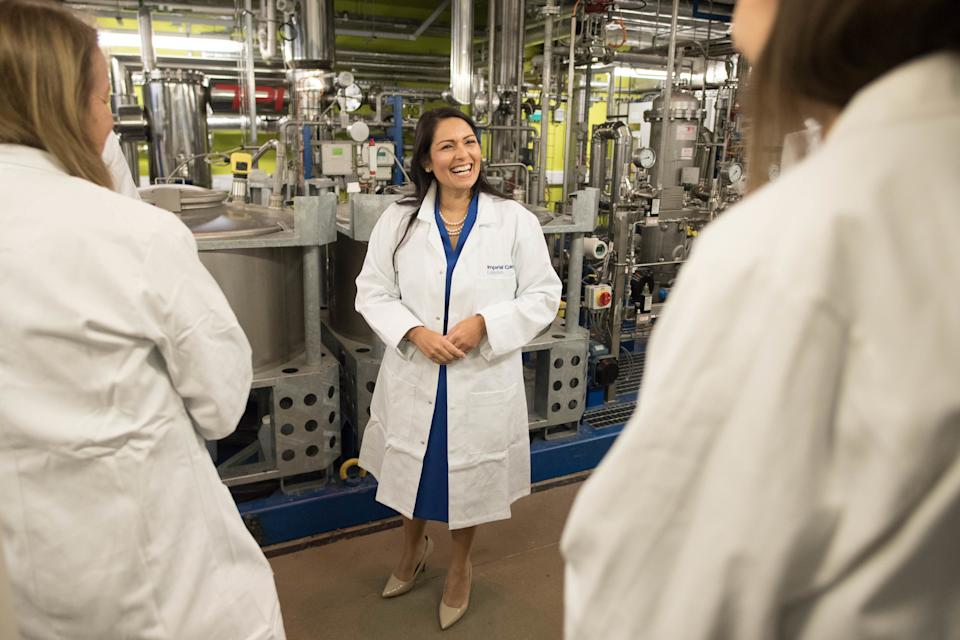 Home Secretary Priti Patel meets students and staff working on 'carbon capture' at Imperial College London in South Kensington, London where she announced plans for a new points-based immigration system. (Photo by Stefan Rousseau/PA Images via Getty Images)