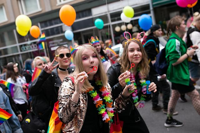 <p>People participate in the 2018 Pirkanmaa Pride Parade, organized by the Finnish LGBTI rights organization Seta, in the city of Tampere, Finland on June 9, 2018. (Photo: Tiago Mazza Chiaravalloti/NurPhoto via Getty Images) </p>