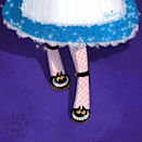 Alice's Chesire cat shoes, inspired by Charlotte Olympia kitty pump.