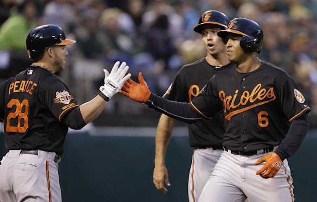 Baltimore Orioles' Jonathan Schoop, right, is congratulated by Steve Pearce, left, and J.J. Hardy after Schoop hit a two-run home run off Oakland Athletics' Jeff Samardzija in the fifth inning of a baseball game Friday, July 18, 2014, in Oakland, Calif. (AP Photo/Ben Margot)