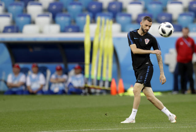 Croatia's Marcelo Brozovic kicks the ball during official training on the eve of the group D match between Croatia and Argentina in the Nizhny Novgorod stadium in Nizhny Novgorod, Russia, Wednesday, June 20, 2018. (AP Photo/Petr David Josek)