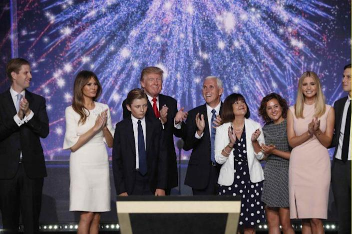 Donald Trump and Mike Pence celebrate with members of their families at the conclusion of the Republican National Convention. (Photos: Mike Segar/Reuters)