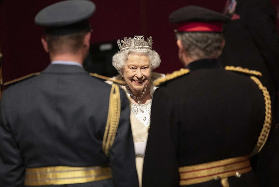 <p>Queen Elizabeth at the state opening of parliament.</p>