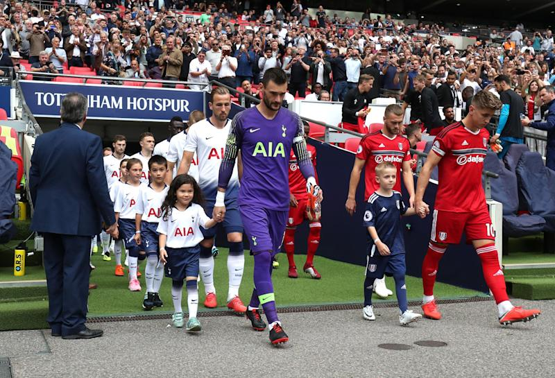 Fulham in all-red this afternoon at Wembley: Tottenham Hotspur FC via Getty Images