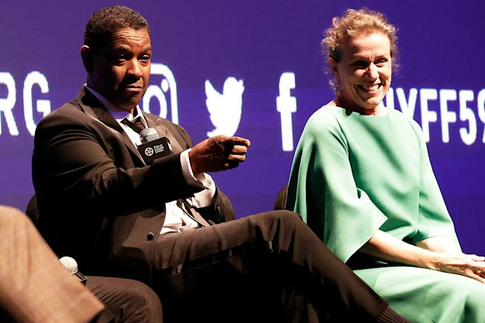 Denzel Washington and Frances McDormand attend Q&A at the opening night screening of The Macbeth Tragedy at the 59th New York Film Festival at Alice Tully Hall, Lincoln Center on September 24, 2021 At New York.