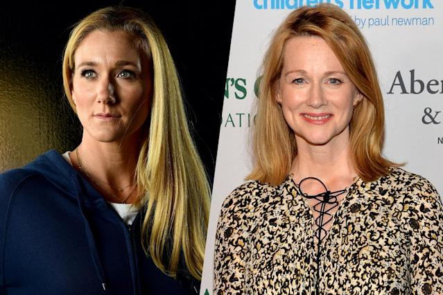 <p>American beach volleyball player Kerri Walsh (left) and actress and three-time Academy Award nominee Laura Linney (right). </p>