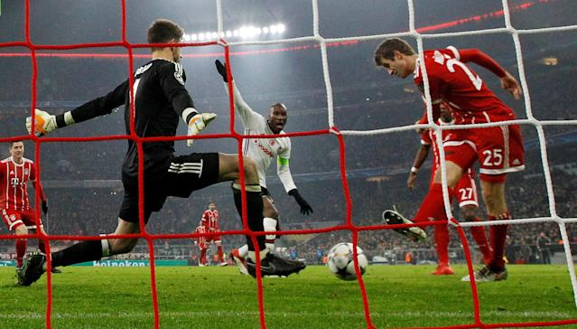 Soccer Football - Champions League Round of 16 First Leg - Bayern Munich vs Besiktas - Allianz Arena, Munich, Germany - February 20, 2018 Bayern Munich's Thomas Muller scores their first goal REUTERS/Michaela Rehle TPX IMAGES OF THE DAY