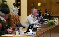 Jordanian King Abdullah II speaks at the Armed Forces Command in the capital Amman on March 1