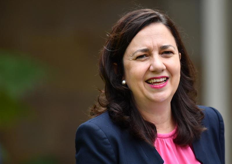 Queensland Premier Annastacia Palaszczuk is seen during a press conference at Queensland Parliament House in Brisbane.