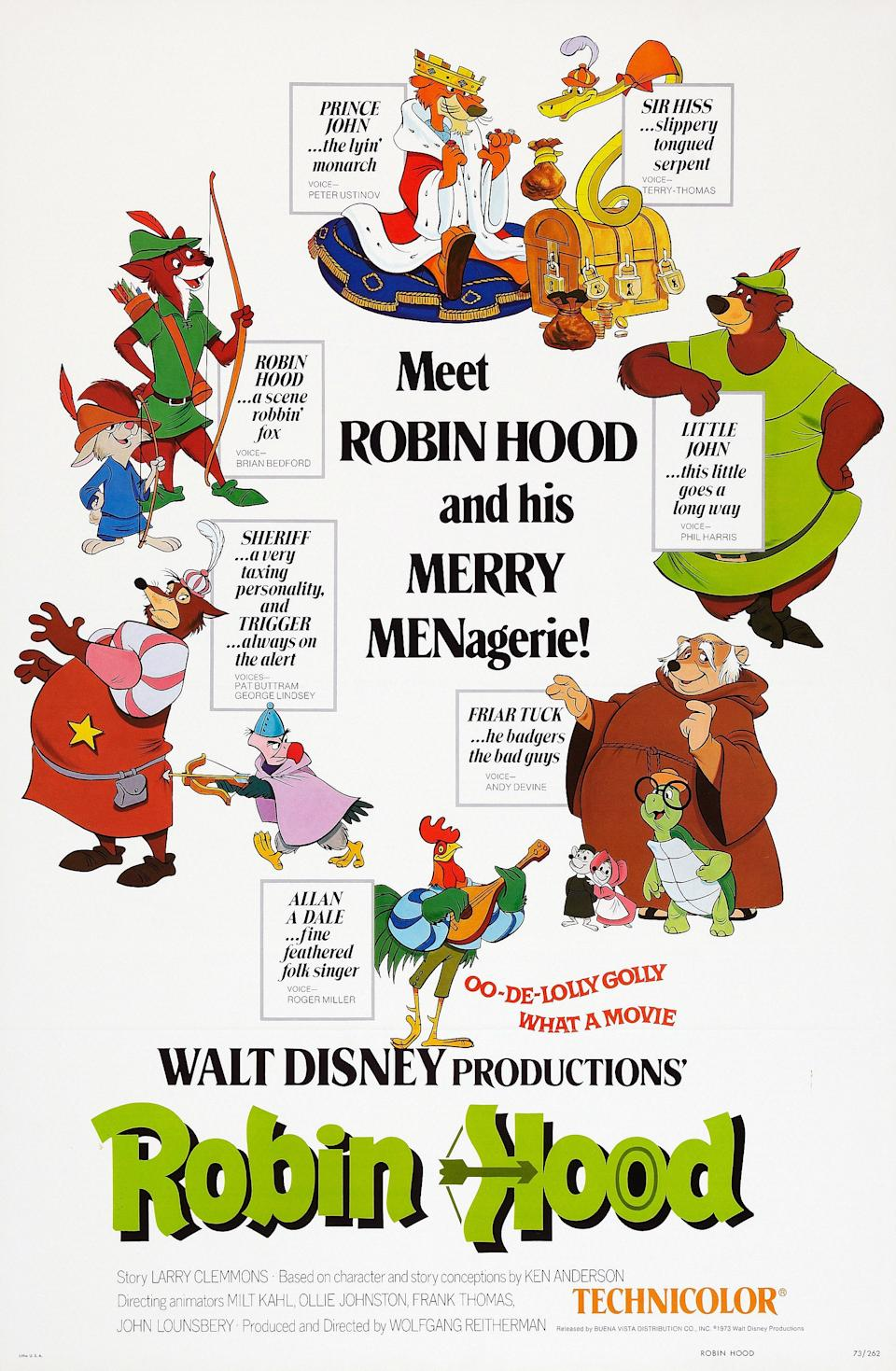 Robin Hood, poster, US poster art, (clockwise from top center): Prince John, Sir Hiss, Little John, Friar Tuck, Toby Turtle, Alan-A-Dale/Rooster, Trigger, Sheriff of Nottingham, Skippy Rabbit, , 1973. (Photo by LMPC via Getty Images)