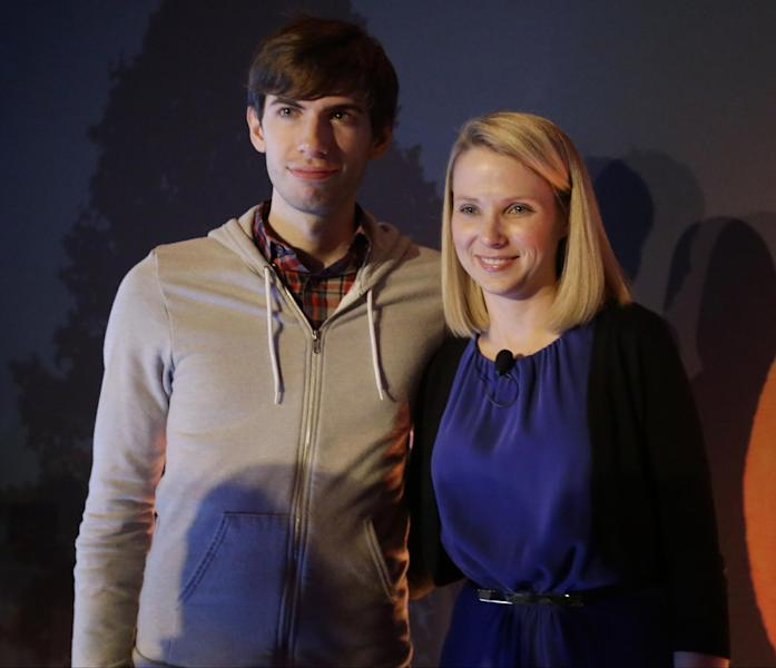 """FILE - In a Monday, May 20, 2013 file photo, Yahoo CEO Marissa Mayer, and Tumblr Chief Executive David Karp speak during a news conference, in New York. Karp, 26, who founded Tumblr, the online blogging forum, and sold it to Yahoo for $1.1 billion, doesn't even have a high school diploma. Karp's mother told the AP that she let him leave school because she realized """"he needed the time in the day in order to create."""" (AP Photo/Frank Franklin II, File)"""