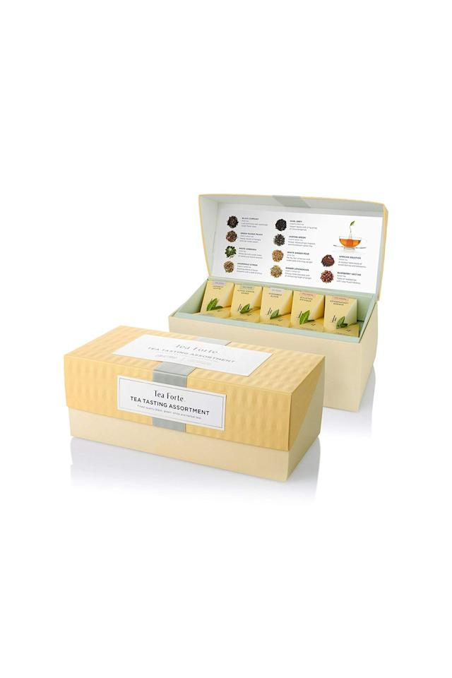 "<p><em>Tea Forte sampler set, $29</em></p><p><a rel=""nofollow"" href=""https://www.amazon.com/Tea-ASSORTMENT-Presentation-Assorted-Handcrafted/dp/B0153PUYX4/ref=sr_1_3_a_it?ie=UTF8&qid=1542817491&sr=8-3&keywords=tea%2Bforte&th=1"">SHOP IT</a></p><p>Once all the presents are unwrapped, everyone will wish they'd picked this gift. The tea set, while packaged nicely, isn't just about looks, it tastes pretty damn good too. (Spoiler alert: I already have two boxes at home.) </p>"