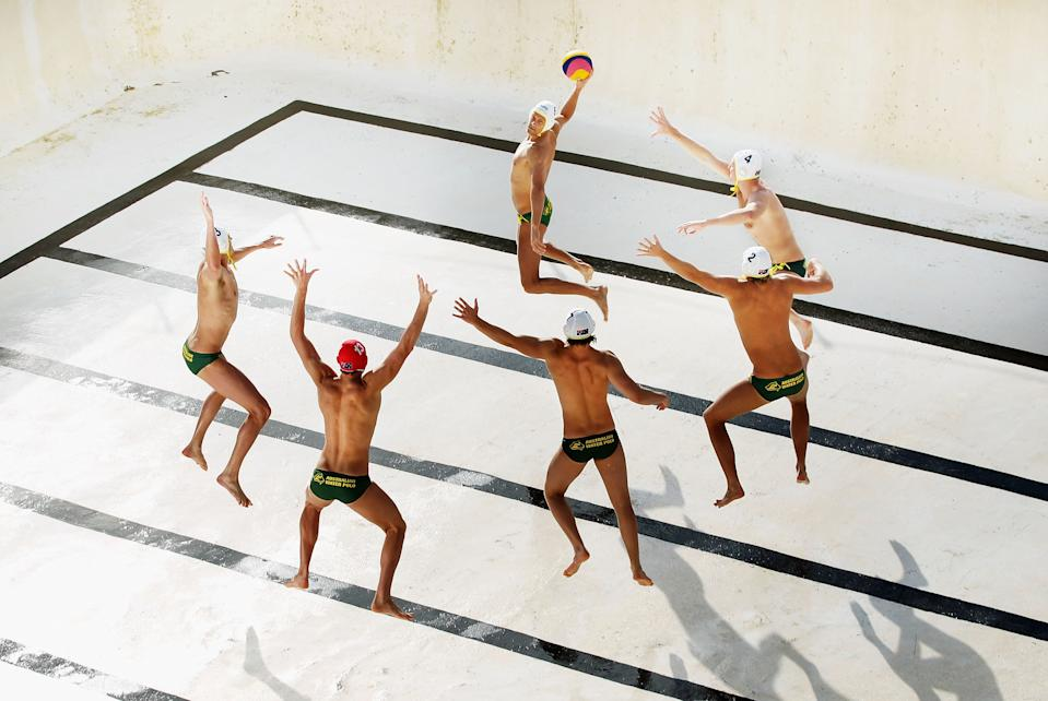 """The Australian Mens Olympic Waterpolo Team are photographed in an empty Bondi Icebergs pool at Bondi Beach on May 31, 2012 in Sydney, Australia. The Aussie Sharks as they are known were finalizing their preparations for the 2012 London Olympic Games when I asked them to pose in an famous ocean pool...with the twist of it being empty. (Ryan Pierse, Australia,Finalist, Sport, Professional competition, 2013 Sony World Photography Awards/ Getty Images) <br> <br> <a href=""""http://worldphoto.org/about-the-sony-world-photography-awards/"""" rel=""""nofollow noopener"""" target=""""_blank"""" data-ylk=""""slk:Click here to see the full shortlist at World Photography Organisation"""" class=""""link rapid-noclick-resp"""">Click here to see the full shortlist at World Photography Organisation</a>"""