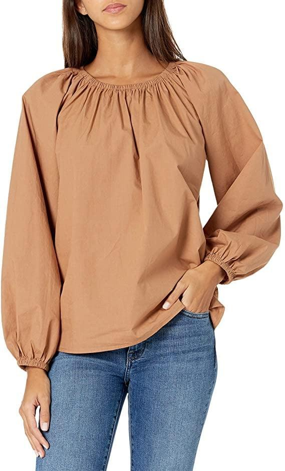 <p>This <span>The Drop Florence Loose Gathered-Neck Balloon-Sleeve Poplin Top</span> ($40) also comes in black.</p>