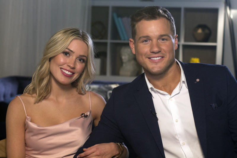 "Cast members Cassie Randolph, left, and Colton Underwood from the reality series, ""The Bachelor,"" appear during an interview in New York on Wednesday, March 13, 2019.  (AP Photo/Gary Gerard Hamilton)"