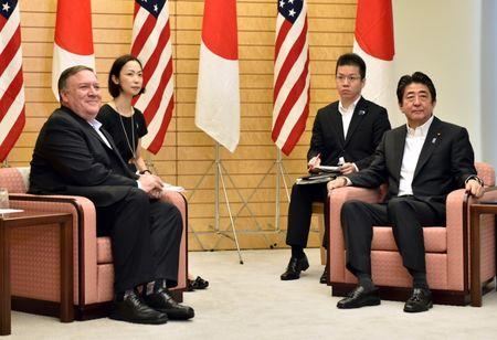US Secretary of State Mike Pompeo (L) meets with Japan's Prime Minister Shinzo Abe (R) at Abe's official residence in Tokyo on July 8, 2018. Kazuhiro Nogi/Pool via Reuters