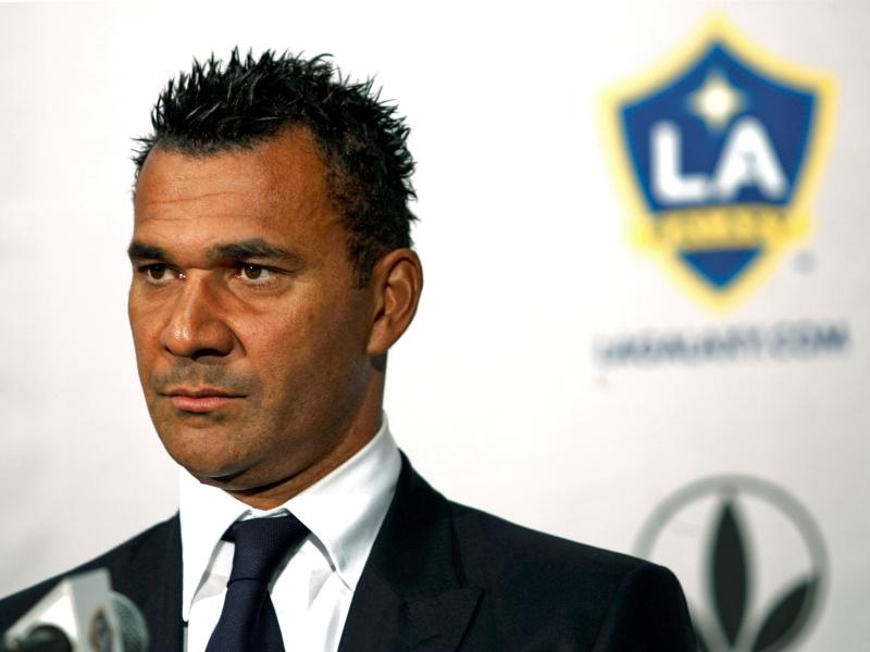 FILE-This nov. 9, 2007 file photo shows Dutch soccer legend Ruud Gullit taking questions from the media  after being introduced as the Los Angeles Galaxy's newest head coach at a news conference at The Home Depot Center  in Carson, Calif.  Gullit led the Netherlands to the European Championship in 1988 and is one of soccer's most famous names. Now he has taken a coaching job in Chechnya, yes, Chechnya, and that raises a question: What is he thinking?  (AP Photo/Damian Dovarganes,File)