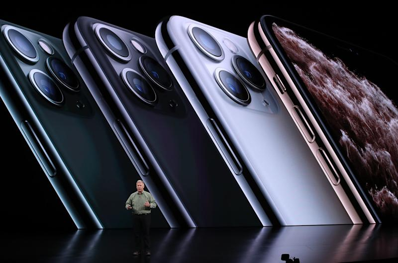 Apple's senior vice president of worldwide marketing Phil Schiller talks about the new iPhone 11 Pro during a special event on September 10, 2019 in the Steve Jobs Theater on Apple's Cupertino, California campus: Justin Sullivan/Getty Images