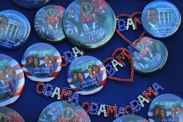 WASHINGTON, DC - JANUARY 20: Souvenir pins are displayed for sale as preparations continue for the Presidential Inauguration on January 20, 2013 in Washington, DC. The U.S. capital is preparing for the second inauguration of U.S. President Barack Obama, which will take place on January 21. (Photo by Joe Raedle/Getty Images)