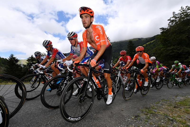 SARRANCOLIN FRANCE AUGUST 03 Joey Rosskopf of The United States and CCC Team Fausto Masnada of Italy and CCC Team Peloton during the 44th La Route dOccitanie La Depeche du Midi 2020 Stage 3 a 1635km stage from Saint Gaudens to Col de Beyrde 1417m RouteOccitanie RDO2020 on August 03 2020 in Sarrancolin France Photo by Justin SetterfieldGetty Images