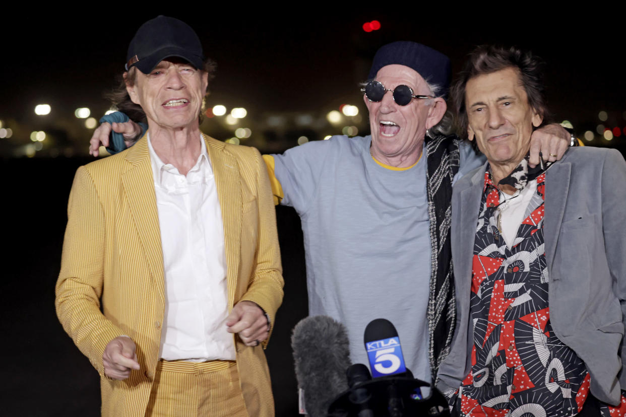 BURBANK, CALIFORNIA - OCTOBER 11: (L-R) Mick Jagger, Keith Richards, and Ronnie Wood of The Rolling Stones touch down at Hollywood Burbank Airport on October 11, 2021 ahead of their shows at SoFi Stadium on October 14, 2021 and October 17, 2021 for their NO FILTER Tour. (Photo by Frazer Harrison/Getty Images)