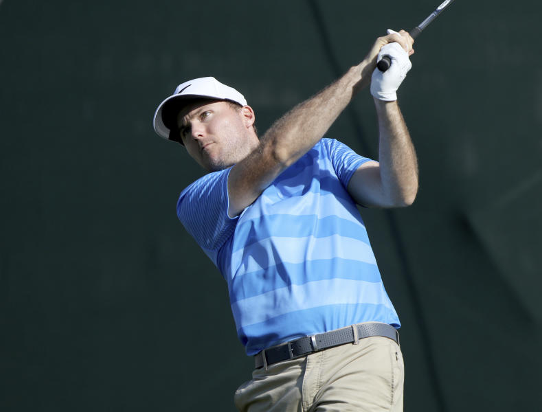 Russell Henley drives at 18 while playing in the second round of the Valspar Golf Championship at Innisbrook Resort and Golf Club's Copperhead Course on Friday, March 10, 2017, in Palm Harbor, Fla. (Douglas R. Clifford/The Tampa Bay Times via AP)