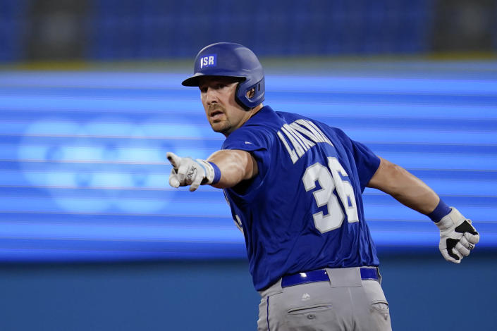 Israel's Ryan Lavarnway gestures as he rounds the basses after hitting a home run in the sixth inning of a baseball game against South Korea at the 2020 Summer Olympics, Thursday, July 29, 2021, in Yokohama, Japan. (AP Photo/Sue Ogrocki)