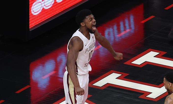 LOUISVILLE, KENTUCKY - JANUARY 18:   Malik Osborne #10 of the Florida State Seminoles celebrates after dunking the ball against the Louisville Cardinals  at KFC YUM! Center on January 18, 2021 in Louisville, Kentucky. (Photo by Andy Lyons/Getty Images)