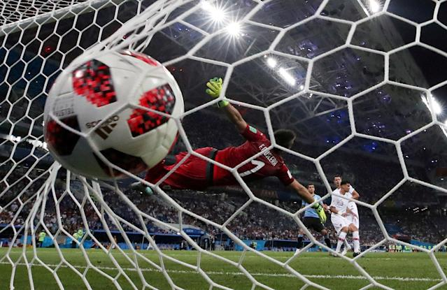FILE PHOTO: Portugal's Pepe scores their first goal at the World Cup, Uruguay vs Portugal socer game at Fisht Stadium in Sochi, Russia, June 30, 2018. REUTERS/Henry Romero/File Photo