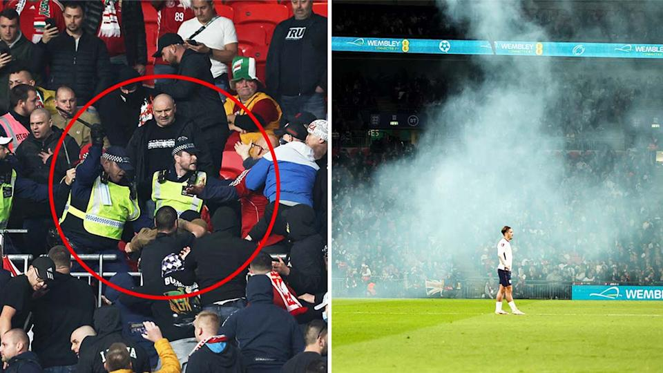 Hungary fans clashing with police (pictured left) at Wembley stadium and (picture right) Jack Grealish on the pitch.