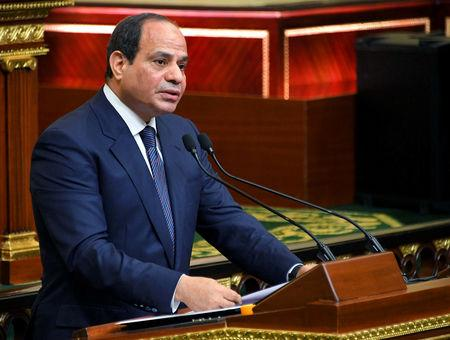 Egyptian President Abdel Fattah Al Sisi speaks at his swearing-in of the second presidential term, at a ceremony, at the House of Representatives in Cairo, Egypt, June 2, 2018 in this handout picture courtesy of the Egyptian Presidency. The Egyptian Presidency/Handout via REUTERS