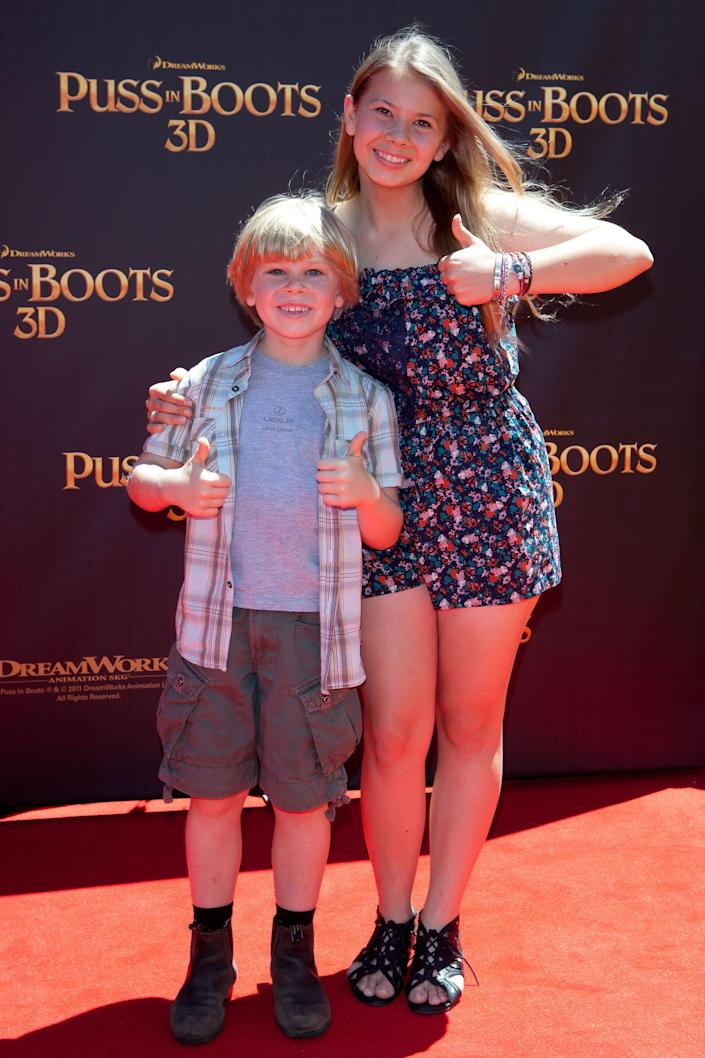 Robert Irwin and Bindi Irwin arrive at the 'Puss in Boots' Australian Premiere at HOYTS Entertainment Quarter on November 27, 2011 in Sydney, Australia. (Photo by Caroline McCredie/Getty Images)