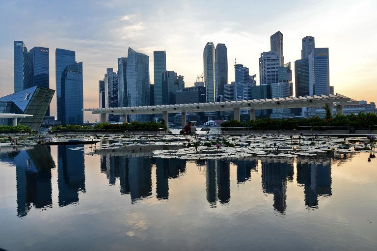 A general view of the financial district skyline is reflected in a pond in Singapore on March 6, 2014 in Singapore