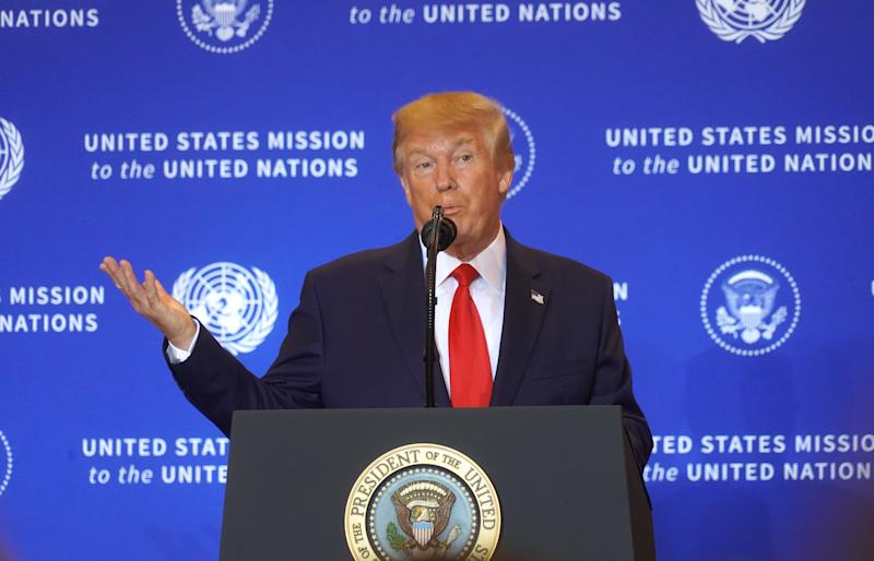 President Donald Trump had a news conference at the InterContinental Barclay New York Hotel during the UN General Assembly, on September 25, 2019 in New York City, US. (Photo by Selcuk Acar/NurPhoto via Getty Images)