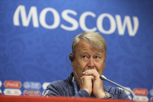 Denmark headcoach Age Hareide looks on during Denmark's official press conference at the eve of the group C match between France and Denmark at the 2018 soccer World Cup in the Luzhniki Stadium in Moscow, Russia, Monday, June 25, 2018. (AP Photo/David Vincent)