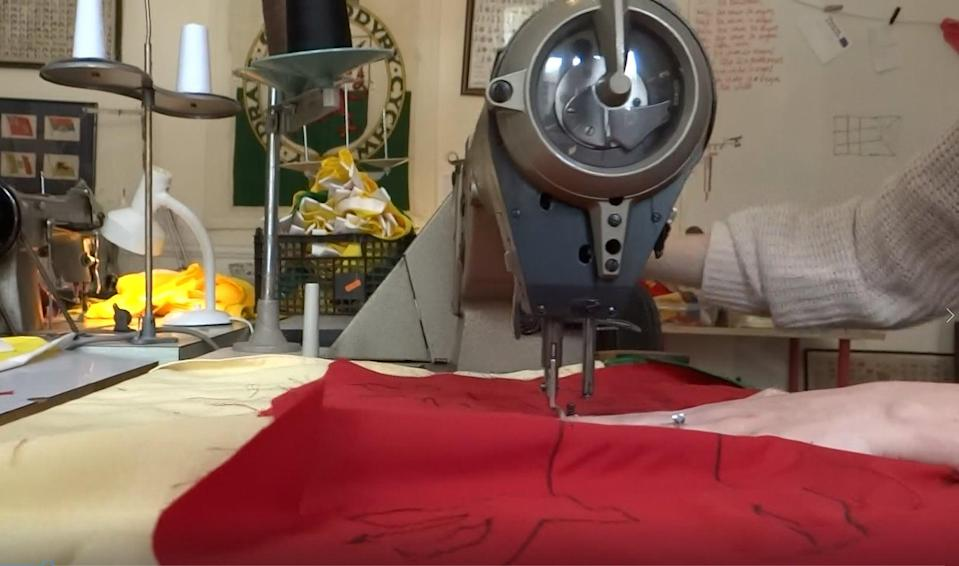 Red Dragon Flagmakers making Welsh flags workshop1