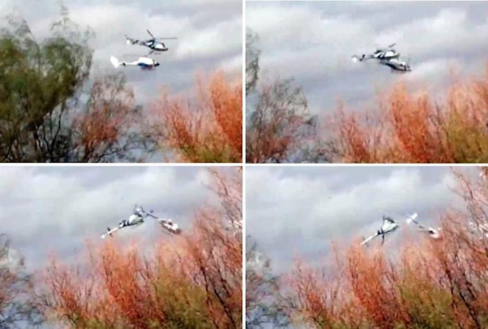 Two helicopters collided mid-air near Villa Castelli, in the Argentine province of La Rioja on March 9, 2015 (AFP Photo/Abel Perea)