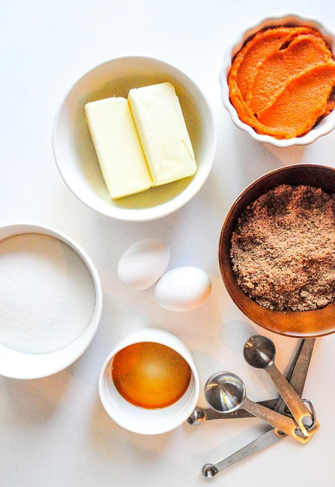<p>Before anything, preheat your oven to 350°F. </p> <p>Here's what you will first need:</p> <ul> <li>2 sticks unsalted butter, room temperature</li> <li>1 cup light brown sugar</li> <li>1 cup granulated white sugar</li> <li>2 eggs</li> <li>1 teaspoon vanilla extract</li> <li>1 cup pumpkin purée</li> </ul> <p>Start by beating your butter until smooth. Then add the sugars until it's super light and fluffy. Next, add 1 egg at a time, continuing to beat until fully incorporated. Now, add the vanilla extract and pumpkin purée and stop beating when it appears evenly mixed.</p>