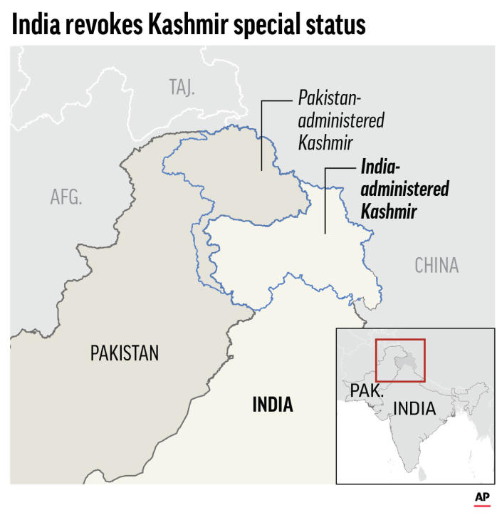 Graphic highlights the Kashmir areas of India and Pakistan;