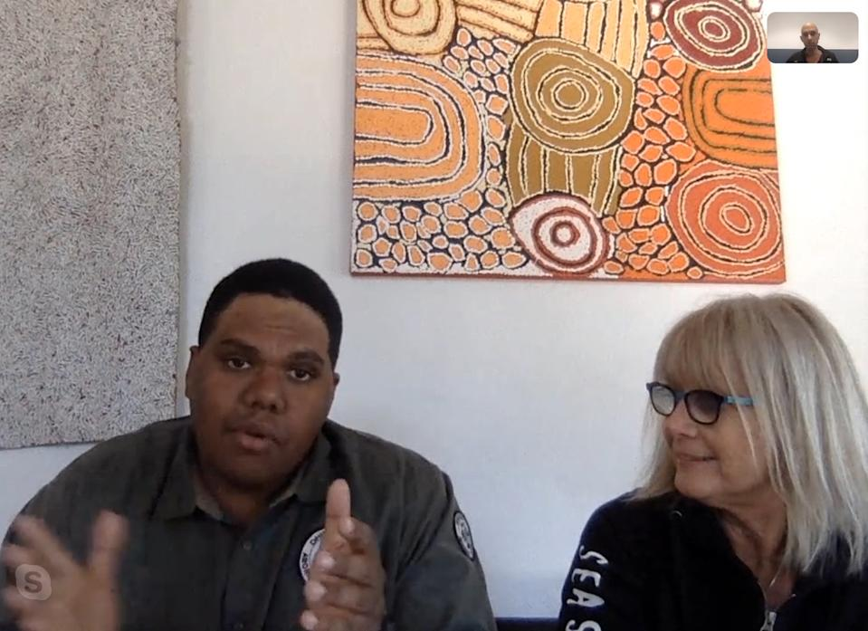 A still of a Skype interview with Indigenous ranger Yama Banu Dhimurra and Liza Dicks from Sea Shepherd.