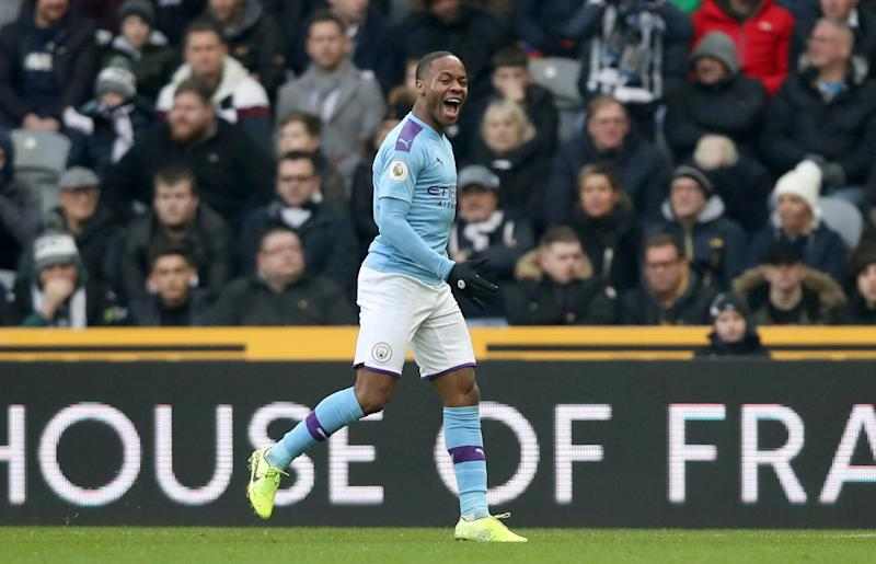 Manchester City's Raheem Sterling celebrates giving his side the lead. (Photo by Owen Humphreys/PA Images via Getty Images)