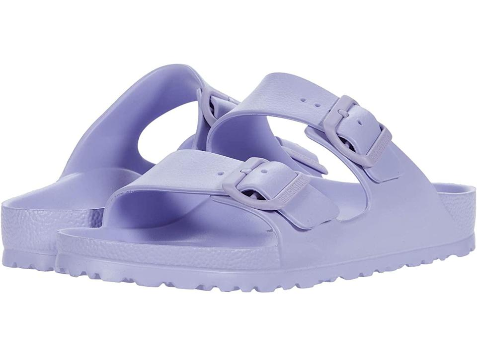 """<br><br><strong>Birkenstock</strong> Birkenstock Arizona Essentials, $, available at <a href=""""https://go.skimresources.com/?id=30283X879131&url=https%3A%2F%2Fwww.zappos.com%2Fp%2Fbirkenstock-arizona-essentials-purple-fog-eva%2Fproduct%2F8184196%2Fcolor%2F893341"""" rel=""""nofollow noopener"""" target=""""_blank"""" data-ylk=""""slk:Zappos"""" class=""""link rapid-noclick-resp"""">Zappos</a>"""