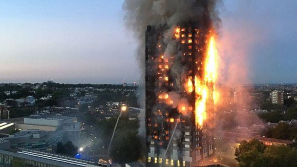 PHOTO:This handout image received by local resident Natalie Oxford early, June 14, 2017, shows flames and smoke coming from a 27-story block of flats after a fire broke out in west London.<p>(Natalie Oxford/AFP/Getty Images)